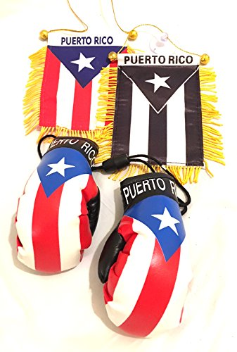 Puerto Rico Bandera Color Mini boxing Gloves Car Hanging Ornament or gifts