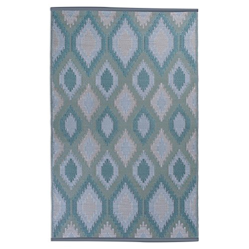 DII Contemporary Indoor/Outdoor Lightweight, Reversible, & Fade Resistant Area Rug, Use For Patio, Deck, Garage, Picnic, Beach, Camping, BBQ, Or Everyday Use - 4 x 6', Green Ikat (Decks For Outdoor Rugs)
