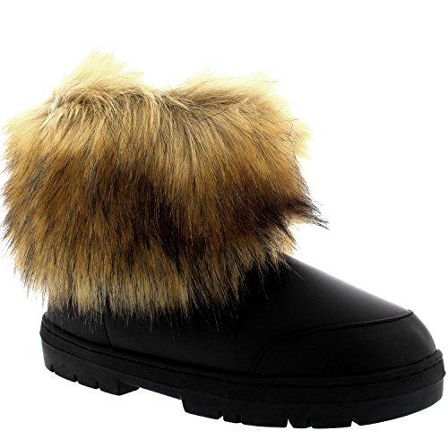 Holly Mujer Short Rabbit Pelaje CoveRojo Nieve Lluvia Impermeable Yeti Esquimal Invierno Botas Negro Cuero
