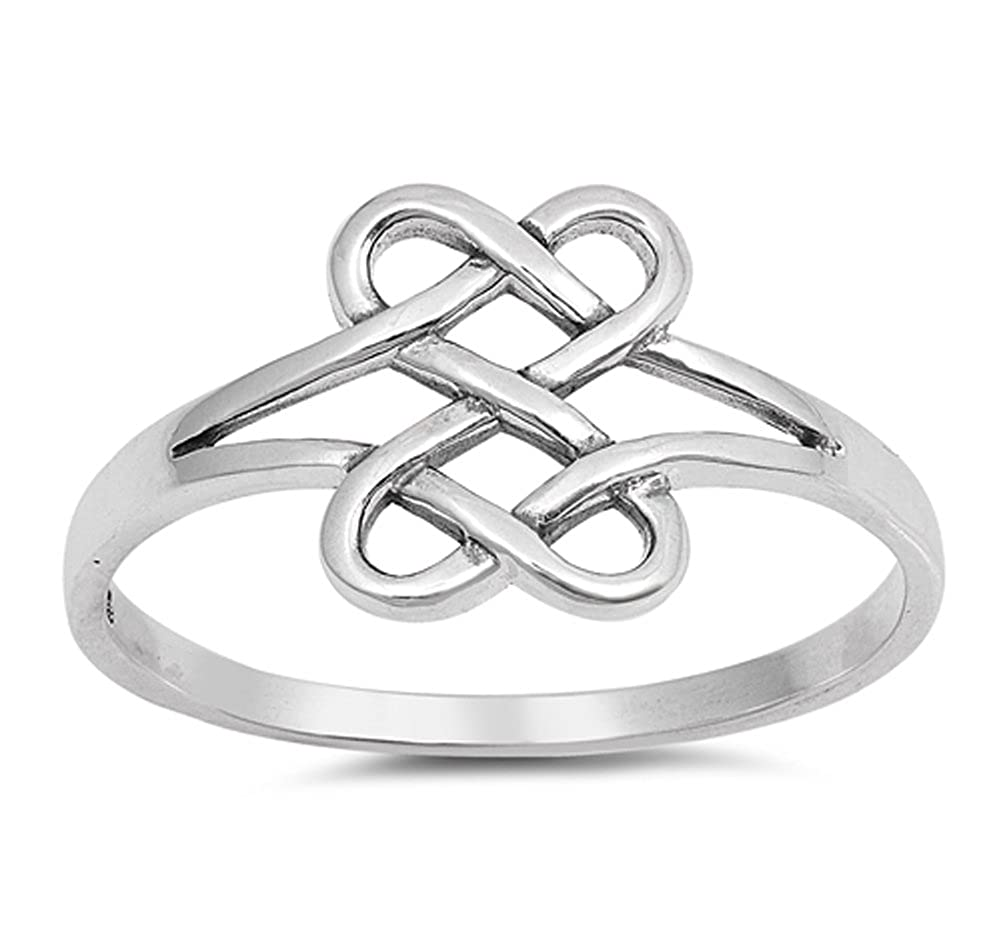 Infinity Celtic Knot Forever Heart Promise Ring Sterling Silver Band Size 8 Sac Silver