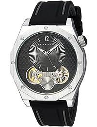Men's 'Faux Automatic' Quartz Metal and Silicone Dress Watch, Color:Black (Model: SJC0177001)