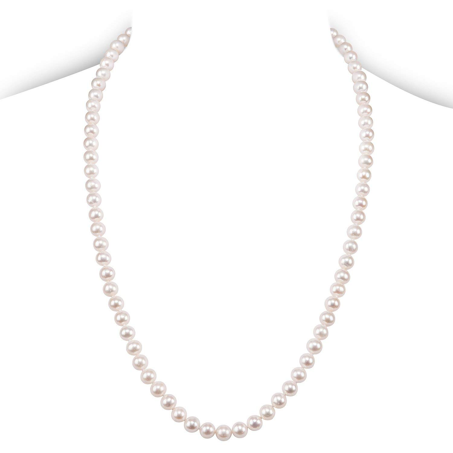 PAVOI Sterling Silver White Freshwater Cultured Pearl Necklace (24, 7mm)