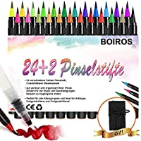 BOIROS Brush Pen Set, 24 Aquarellstifte Pinselstifte Kaligraphiestifte Set mit weicher und flexibler Nylonspitze...