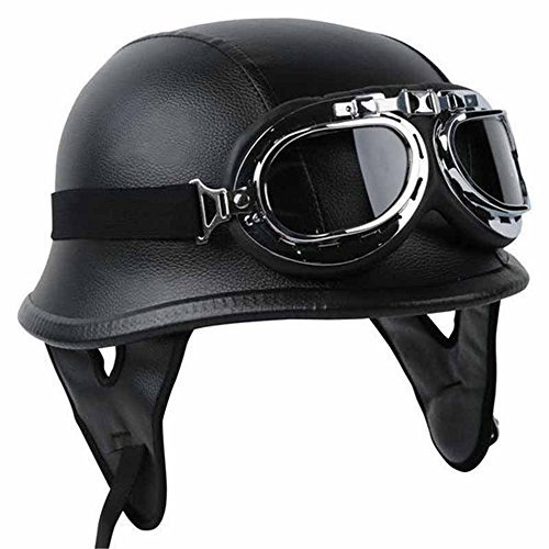 Half Helmet Black Dot Adult German Style added leather protection with goggles Large