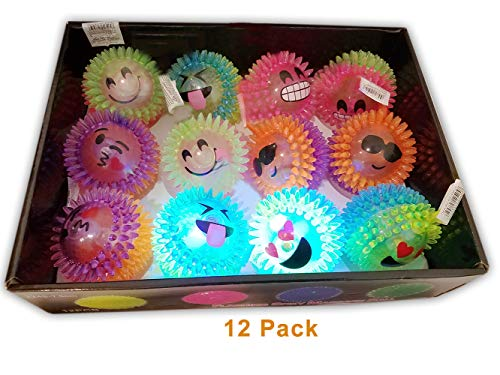 Emoji / Spiky Massage Light Up LED Flashing Rubber 3 Balls for Kids Party Favors, Goodie bags / giveaways, 12-Pack