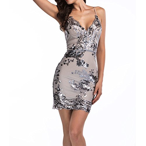 Women's Sexy Backless Sparkling Dress Sequins Floral Deep V Neck Clubwear Party Bodycon Mini Short Dress Silvery TAG L