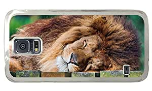 Hipster glitter Samsung Galaxy S5 Case Sleeping Lion PC Transparent for Samsung S5