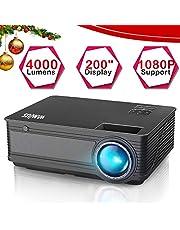 """Proyectores, WiMiUS Video Proyector 4200 Lúmenes Soporta Full HD 1080P Proyector LED 50000 Horas Proyector HD con 200"""" Pantalla, Proyector Cine en casa con el Interfaz HDMI/ USB/ VGA/ AV/ TF - Negro"""