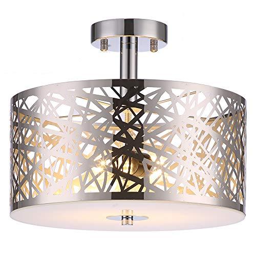 Wtape Vintage 2 Light Crystal Chrome Finish Semi-Flush Mount Ceiling Light, Lighting Fixture with Metal Shade for Living Room Bedroom Dining Room Hallway