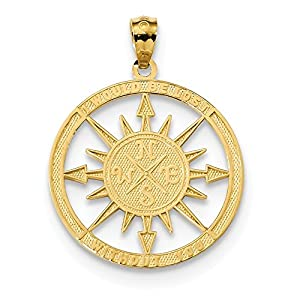 FB Jewels Solid 14K Yellow Gold Satin and Polished Lost out You Compass Pendant