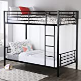 walker edison twin over twin metal bunk bed black