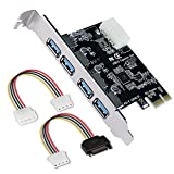 AZFUNN PCI-E to USB 3.0 Card, 4-Port USB 3.0 to PCI Express Expansion Card up to 5Gbps for Windows 2000/XP/VISTA/7/8 (With a SATA 15Pin Male to 4 Pin Power Cable & a 4 Pin Molex Male to Female Cable)
