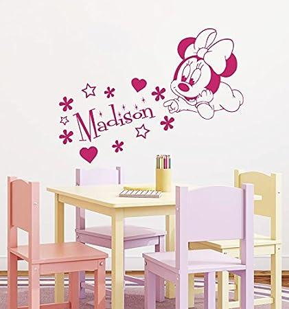 Wall Decals Custom Name Baby Minnie Mouse Personalized Name Nursery Kids  Boys Girls Disney Head Mice