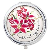 Vanroe 'With All My Love' Luxury Compact Mirror with Stargazer Lily & Orchid Bouquet – Gift box, Keepsake Present Idea, Magnified Review