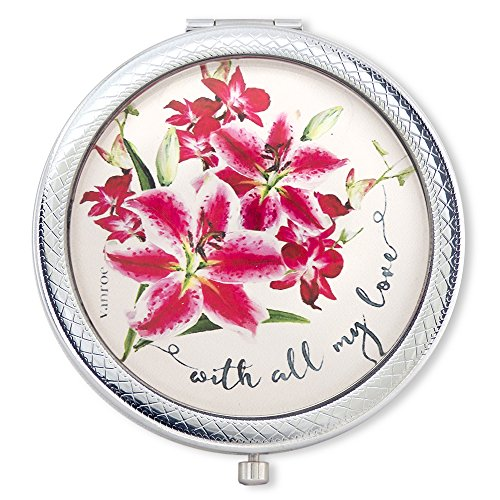 Birthday Beauty Bouquet - Vanroe 'With All My Love' Luxury Compact Mirror with Stargazer Lily & Orchid Bouquet - Gift box, Keepsake Present Idea, Magnified
