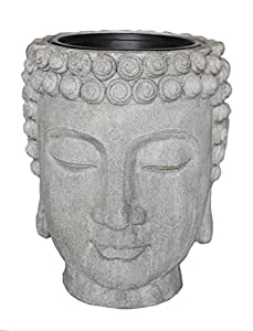 Agradable maceta decorativa de flor de resina cabeza de Buda, gris