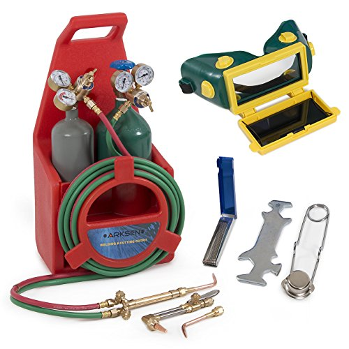 (ARKSEN Portable Professional Torch Kit Oxygen & Acetylene Welding CGA200 / CGA540 Tote Storage w/Handle, Red)