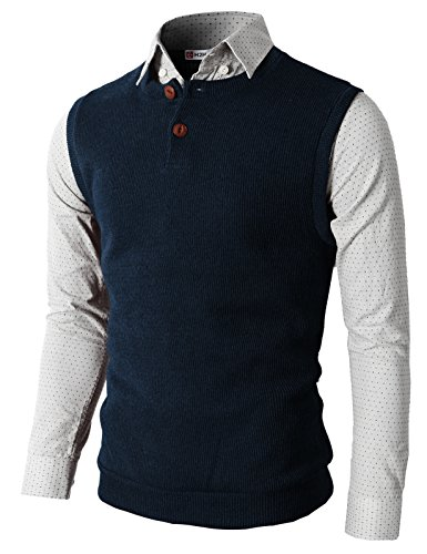 H2H Knitted Sweater Buttons Henley