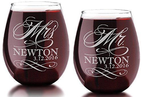 Set of Two Custom MR and MRS with Last Name Date Stemless Wine Glass 21 Oz Classy Wedding Bride Groom Future Married Couple Christmas Gift
