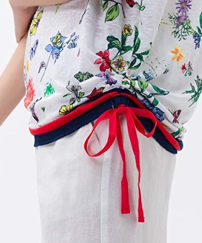 Femme Blanc Rachel Brax Linen 99 white Poncho Print T Geblühmtes shirt Leinenshirt ZaZxnzr