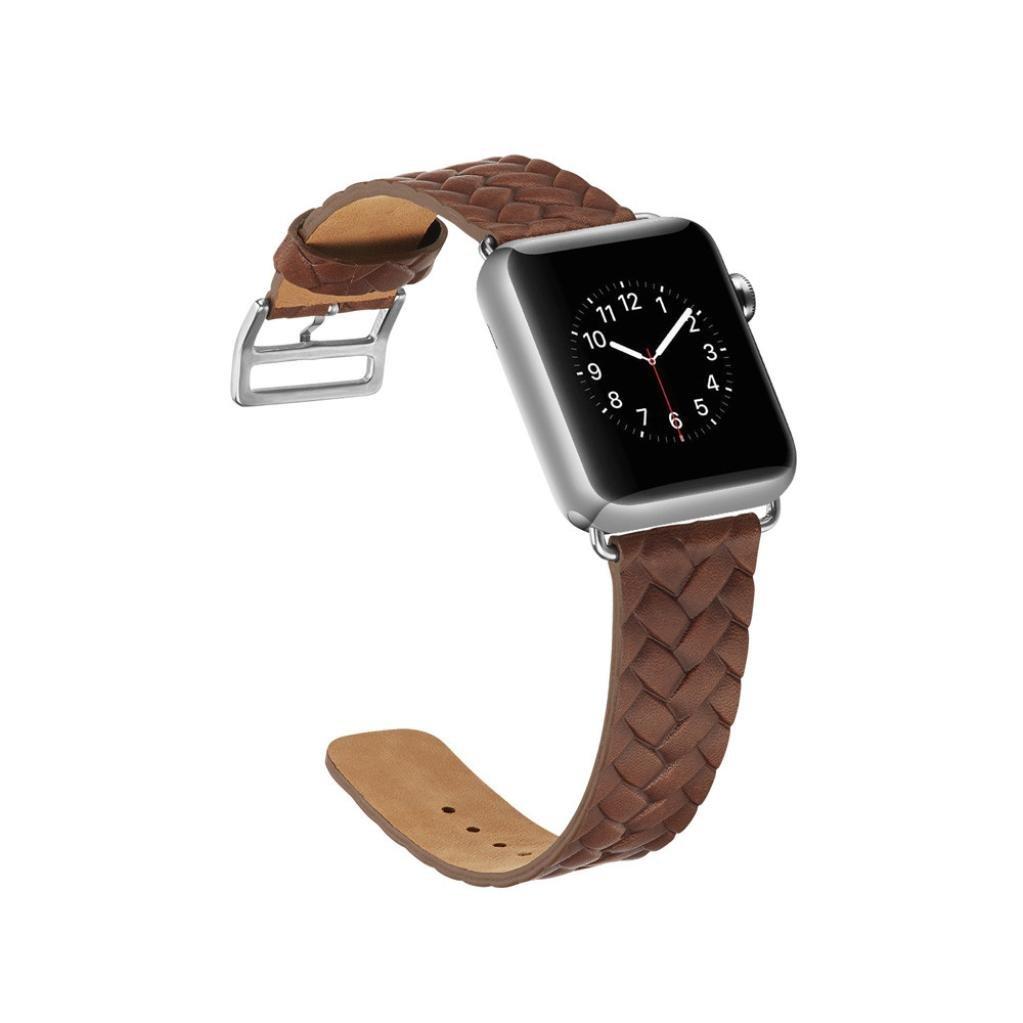 海山Leather Watch Band for Apple Watch 38 mm / 42 mm 42MM|ブラウン ブラウン 42MM B079Z7FMJS