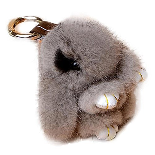 Manka Vesa Cute Mini Mink Fur Rabbit Doll Key Chain for Women Bag Charms Car Keyring Gray