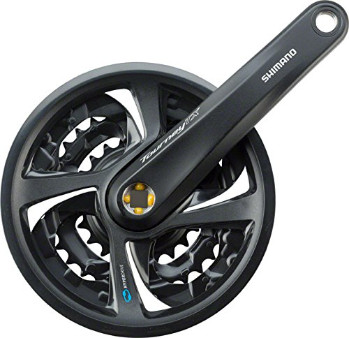 Shimano Tourney Mountain Bicycle Crank Set - FC-TX801 (Black - 170MM, 42X32X22T, w/Chain Guard) by Shimano