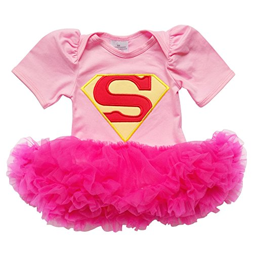So Sydney Baby Girls Tutu Chiffon Ruffle Skirted Onesie Superhero Romper (XS (3-6 Months), Pink & Hot Pink (Superheroes Outfit)