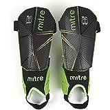 Mitre Delta Ankle Protect Soccer Shin Guard, Black/Green/Yellow, Small