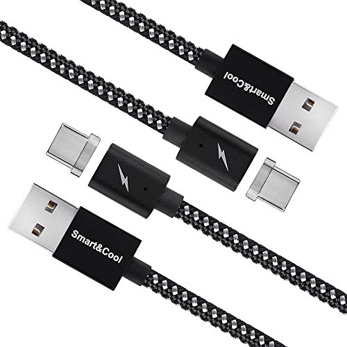 Smart&Cool 5 Feet Gen6 Magnetic USB-C Fast Charging (Max Charging Current: 3A) and Data Sync Cable for Galaxy S8/S8 Plus/S9, LG G5/G6, Nokia 950/950XL etc. (5ft-Black&Silver Twin-Pack)