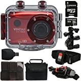 Vivitar DVR-786HD Red 5.1MP Action Camcorder 1.8'' Touch Screen + 32GB MicroSD Memory Card + Card Holder + Reader + Case