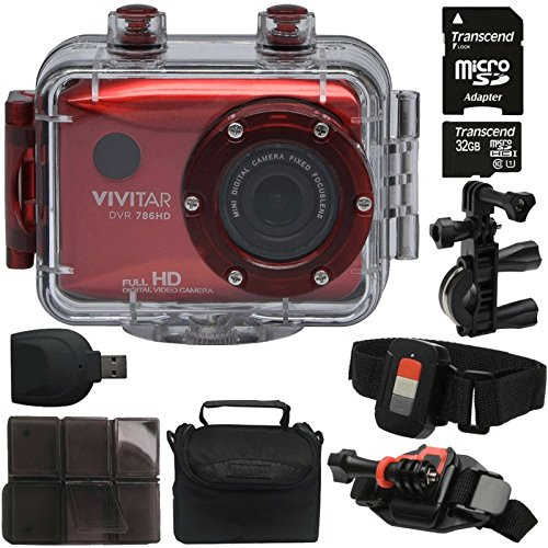 Vivitar DVR-786HD Red 5.1MP Action Camcorder 1.8'' Touch Screen + 32GB MicroSD Memory Card + Card Holder + Reader + Case by Teds