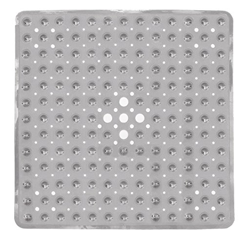 Yimobra Original Bath Shower Tub Mat Square 21x21 Inch,Machine Washable,BPA,Latex,Phthalate Free,Bathroom Mats with Drain Holes, Suction Cups,Clear Gray