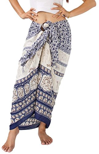 Siam Secrets Plus Size Sarong Unisex Elephant Shawl or Pareo Beach Wrap indigo
