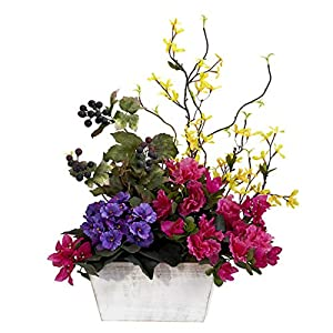 GREATHOPES Assorted Mixed Floral w/Azalea & White Wash Planter Artificial Flower Decorative Silk Arrangement 12