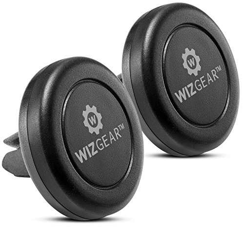 Magnetic Mount, WizGear [2 PACK] Universal Air Vent Magnetic Car Mount Phone Holder, for Cell Phones and Mini Tablets with Fast Swift-Snap Technology, With 4 Metal Plates (Cell Accessorys Phone)