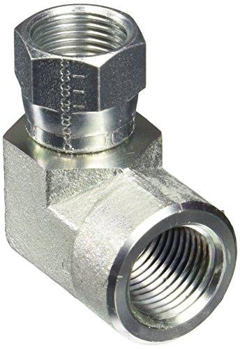 Eaton Aeroquip 2244-8-8S 90 Degree Swivel to Female Pipe, JIC 37 Degree & NPT End Types, Carbon Steel, 1/2 JIC(f) x 1/2 NPT(f) End Size, 1/2'' Tube OD, 1/2'' Female Pipe Size by Aeroquip