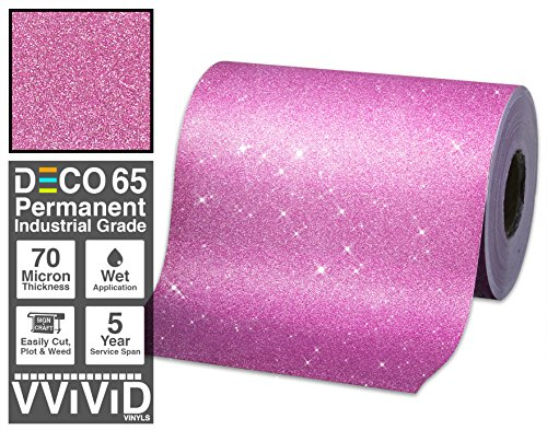 VViViD Glitter Pink DECO65 Permanent Adhesive Craft Vinyl 1 Foot x 6 Feet Roll for Cricut, Silhouette & Cameo