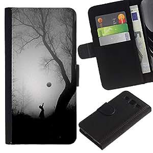 A-type (Scary Girl Tree Halloween Black) Colorida Impresión Funda Cuero Monedero Caja Bolsa Cubierta Caja Piel Card Slots Para Samsung Galaxy S3 III i9300 i747