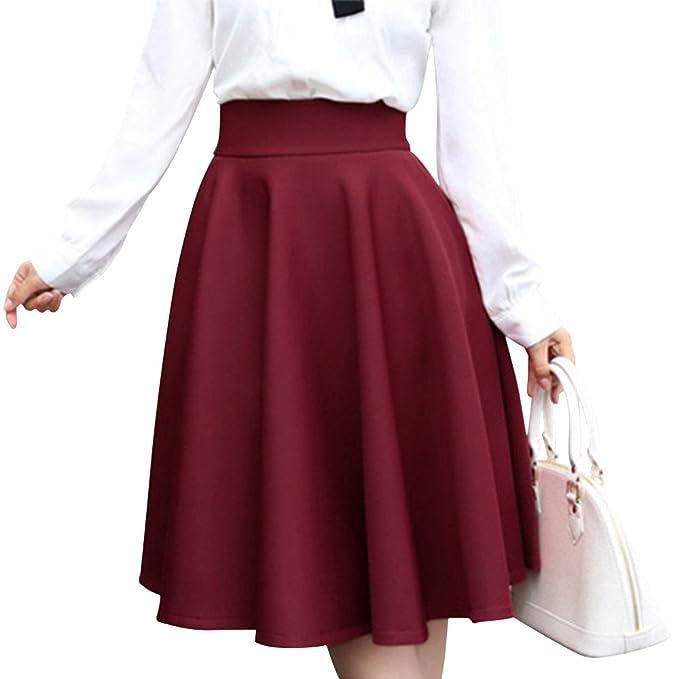 834dfe561c Yifen Women Plain Midi Swing Gruesas Faldas para el otoño y el Invierno(Rojo