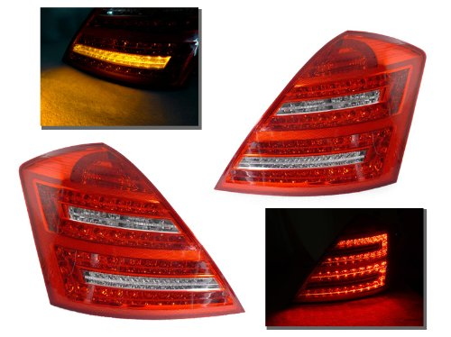 DEPO 2007-2009 Mercedes Benz W221 S Class Facelift Style Red / Clear LED Tail Lights Set