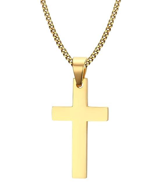 Goldkette mit kreuz herren  Vnox Herren Edelstahl Einfache Kreuz Kreuz Anhänger Halskette mit ...
