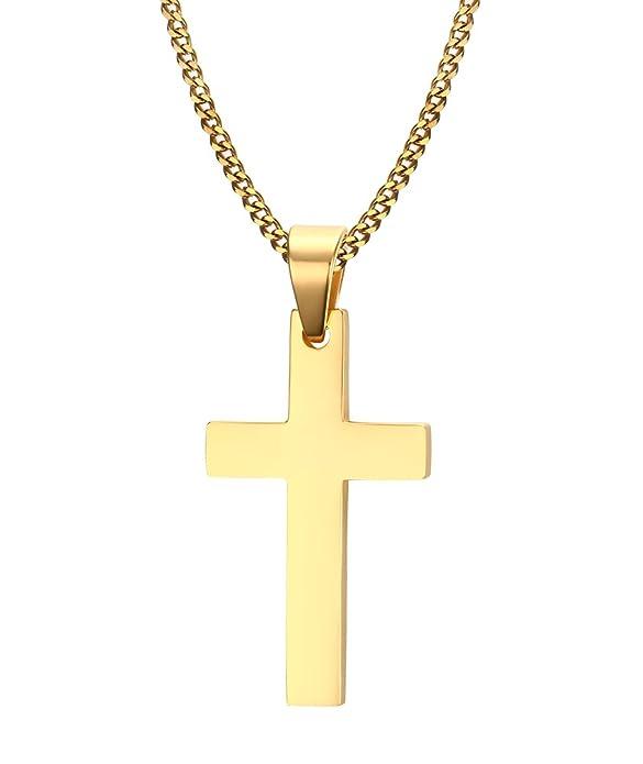Vnox Herren-Halskette aus einfachem, klarem Kreuz mit 60 cm kubanischer Kette