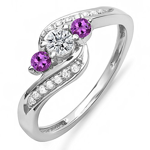 Amethyst Ladies Ring (DazzlingRock Collection 14K White Gold Round Amethyst & White Diamond Ladies Swirl Engagement 3 Stone Bridal Ring (Size 4))