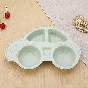 pyc88 Plato de harina de trigo Plato de niños estilo coche Home baby separa el plato de cubertería Verde Nórdico: Amazon.es: Hogar