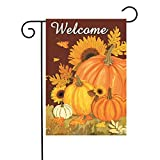 KissDate Double Sided Pumpkin Sunflower Welcome Fall Garden Flag, Perfect for Outdoor Garden Yard Decoration and Autumn Harvest Celebration (12.5″ x 18″)