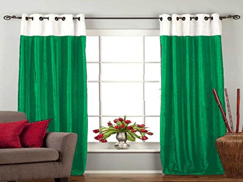 VR Textiles Royal Velvet Grommet/Ring Top Double Shade Curtain 2PC WHITE & LIGHT GREEN 66''x 90'' by VR Textiles