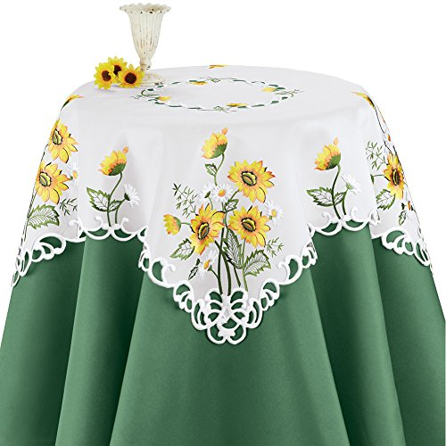 Collections Etc Elegant Table Runner/Topper with Embroidered Sunflowers, Square