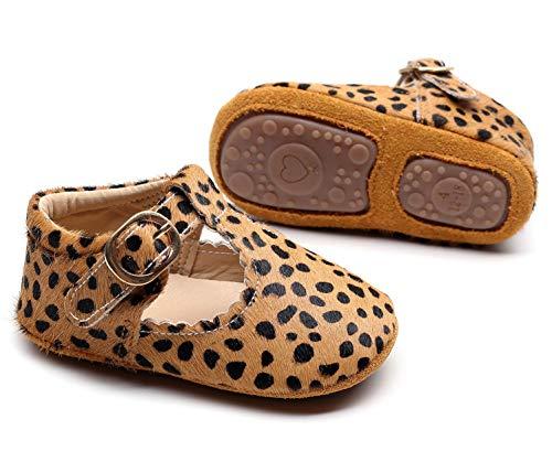 HONGTEYA Leather Leopard Baby Shoes Hard Sole T-Strap Boys Girls Moccasins for Infants Babies Toddlers (0-6 Months/ 3.5 M US Infant, Leopard1)