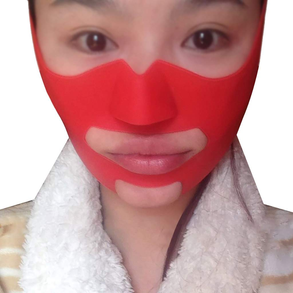 Facial Correction Belt - Thin Face Mask Silicone V Mask Mask Strong Slimming Bite Muscle Trainer Apple Muscle Law Pattern Artifact Small V Face Bandage Thin Face Neck Lift by MJ-V Face Masks